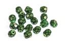 Czech Faceted Round Beads - Snake Evergreen 4mm