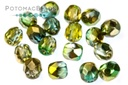 Czech Faceted Round Beads - Sunny Magic Summer Green 4mm