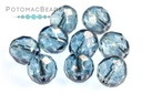 Czech Faceted Round Beads - Crystal Blue Luster 8mm
